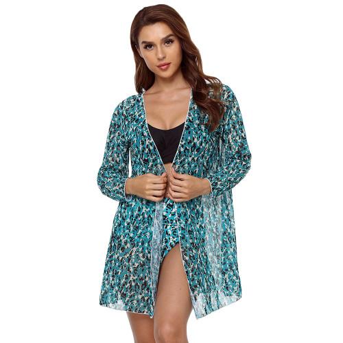 Green Leopard Print High Waist 3pcs Bikini Set TQK610217-9
