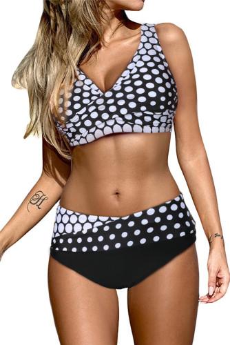 White Dot Print Wrap V Neck Lace-up Back Bikini LC431591-1