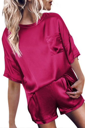 Red Satin Pocketed Tee and Shorts Lounge Set LC451851-3