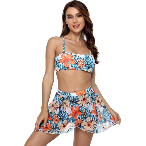 Orange Multiwear Floral Print 3pcs Swimsuit TQK610218-14