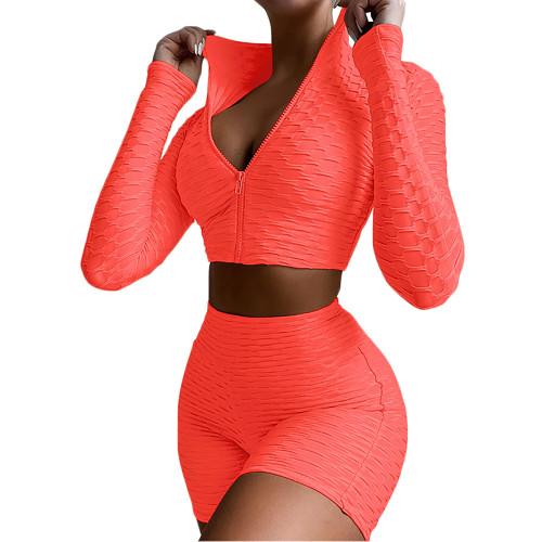 Orange Merbau Zipper Jacket with Shorts Set TQK710343-14