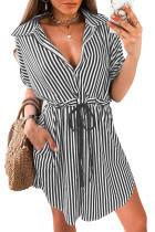 Striped Pocket Button Drawstring Tab-Sleeve V-Neck Mini Dress LC224868-19