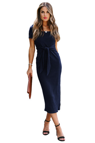 Blue Short Sleeves Ribbed Tie Front Midi Dress LC614327-5