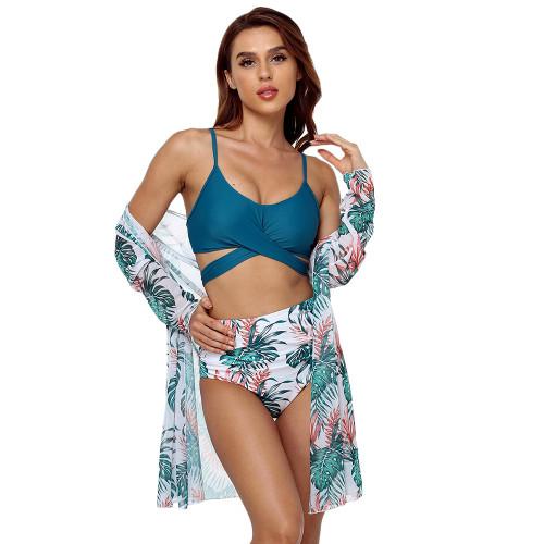 Cyan Leopard Print High Waist 3pcs Bikini Set TQK610217-45