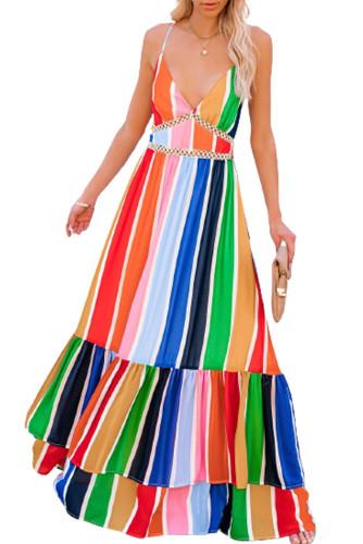 Crochet Insert Multicolor Striped Maxi Dress LC614259-22
