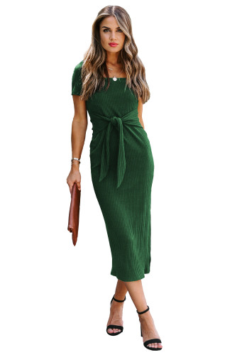 Green Short Sleeves Ribbed Tie Front Midi Dress LC614327-9