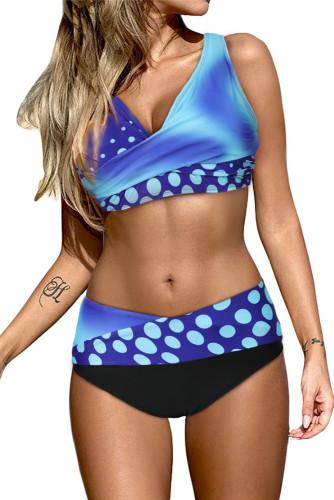 Blue Polka Dot Print Wrap V Neck Lace-up Back Bikini LC431591-5