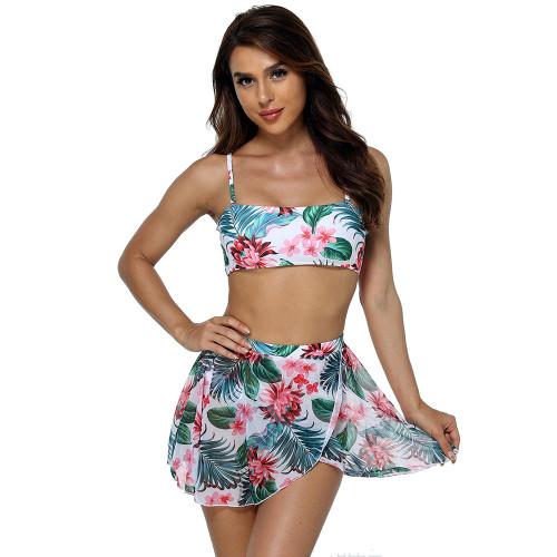 Cyan Multiwear Floral Print 3pcs Swimsuit TQK610218-45