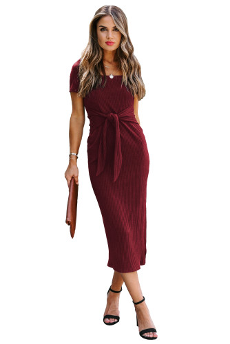 Wine Short Sleeves Ribbed Tie Front Midi Dress LC614327-3