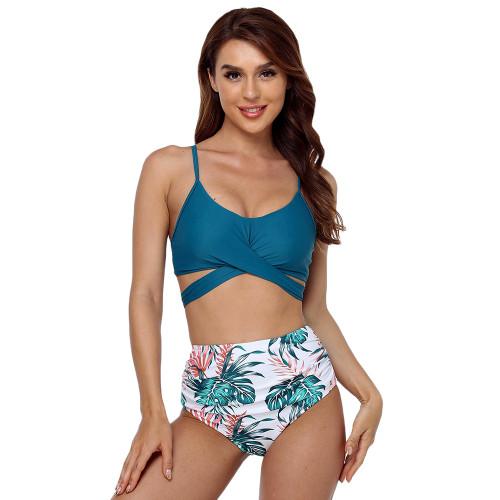 Turquoise Cross Detail High Waist Bikini Swimsuit TQK610216-45