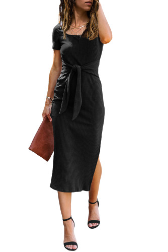 Black Short Sleeves Ribbed Tie Front Midi Dress LC614327-2