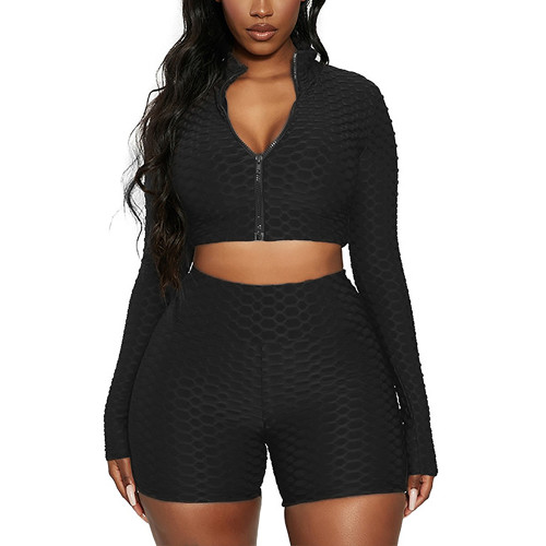 Black Merbau Zipper Jacket with Shorts Set TQK710343-2
