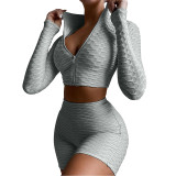 Light Gray Merbau Zipper Jacket with Shorts Set TQK710343-25