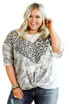 Plus Size Leopard Camo Splicing Twist Knot Half Sleeve T-Shirt LC2513694-20