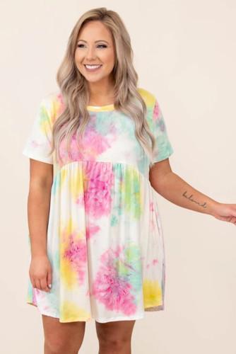 Tie Dye Crewneck Short Sleeve Casual Plus Size Dress LC614434-10