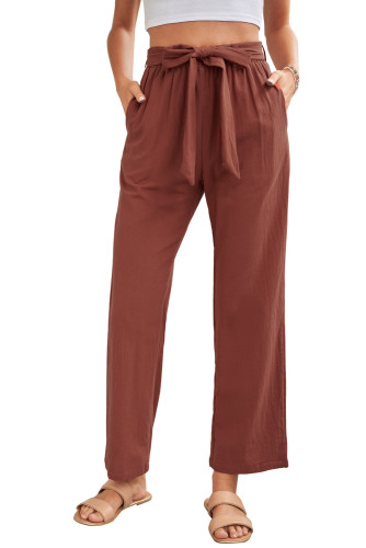 Red Elastic Waist Drawstring Wide Leg Pants LC771690-3