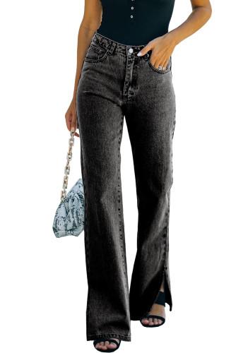 Black High Rise Slit Anklet Flare Jeans LC781923-2