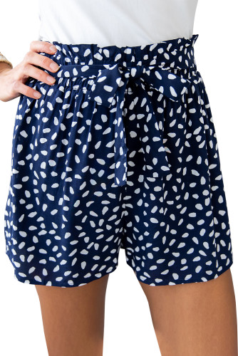 Blue Spotted Print Loose Casual High Waist Shorts LC771867-5