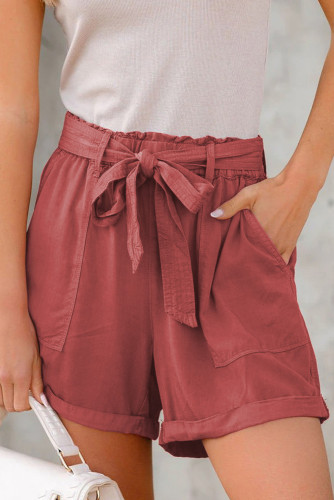 Sewn Cuffed Hemline Pocketed Cargo Shorts with Belt LC771745-3