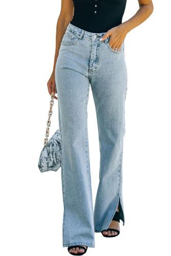 Sky Blue High Rise Slit Anklet Flare Jeans LC781923-4