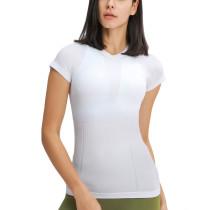 White Slim Fit Nylon Yoga T-shirt TQE111220-1