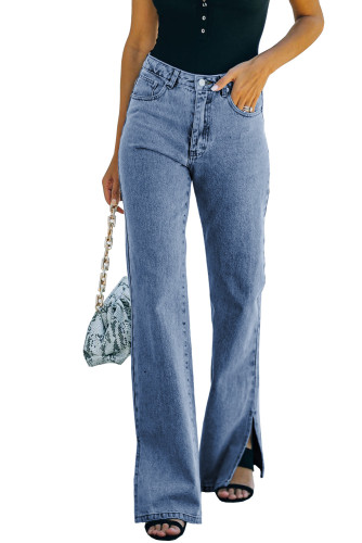 Blue High Rise Slit Anklet Flare Jeans LC781923-5