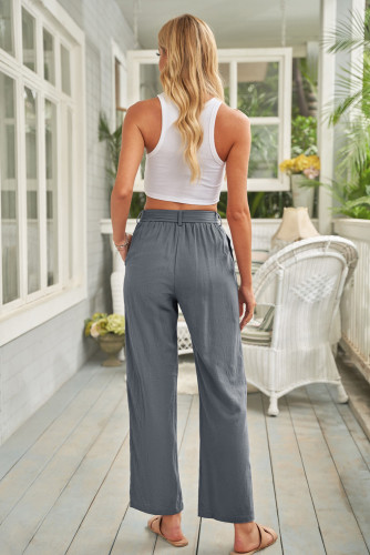 Gray Elastic Waist Drawstring Wide Leg Pants LC771690-11
