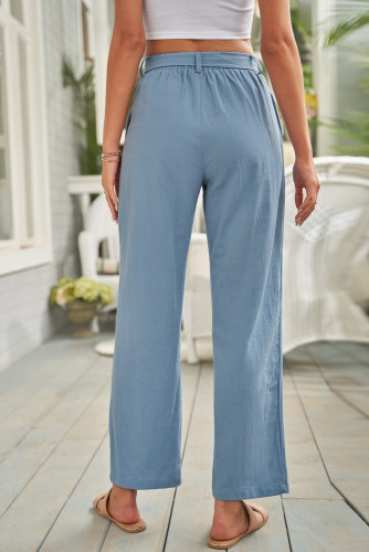 Sky Blue Elastic Waist Drawstring Wide Leg Pants LC771690-4
