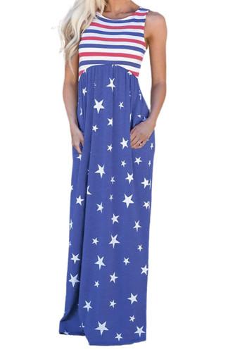 Blue Stripes and Stars Sleeveless Maxi Dress with Pockets LC614789-5