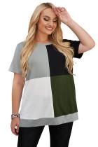 Green Plus Size Crew Neck Colorblock T-shirt LC2516787-9