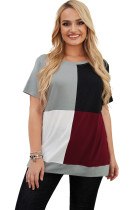 Wine Red Plus Size Crew Neck Colorblock T-shirt LC2516787-3