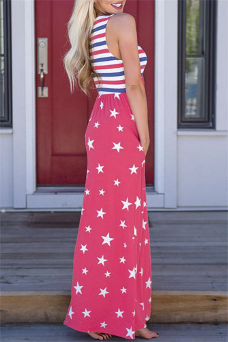 Red Stripes and Stars Sleeveless Maxi Dress with Pockets LC614789-3