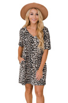 V Neck Animal Print T-shirt Mini Dress with Pockets LC225481-20