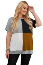 Khaki Plus Size Crew Neck Colorblock T-shirt LC2516787-16
