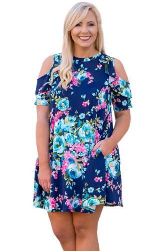 Blue Floral Plus Size Cold Shoulder Ruffle Pocket Mini Dress LC614037-5