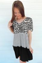Leopard Striped Color Block V Neck Short Sleeve Mini Dress LC225924-20