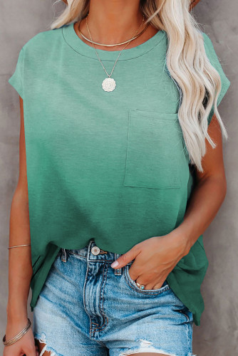 Green Gradient Color Short Sleeve T-Shirt with Pocket LC2527051-9