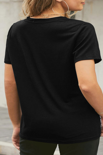 Black Neon Lips Graphic Plus Size T-shirt LC2522082-2