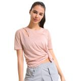 Pink Side Split Short Sleeve Yoga Tees TQE191252-10