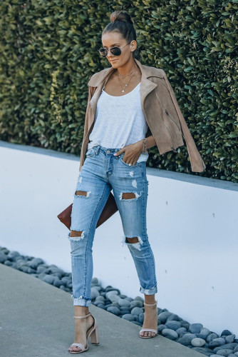 High Waist Distressed Skinny Jeans LC781447-4