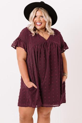 Wine Red Plus Size V Neck Ruffle Swiss Dot Mini Dress with Pocket LC614049-3