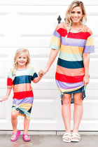 Mother and Daughter Matching Striped Side Split Adult T-shirt Dress LC611123-22