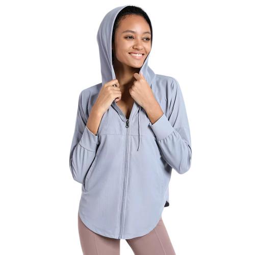 Blue Quick Dry Drawstring Hooded Yoga Jacket TQE71334-5