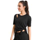 Black Side Split Short Sleeve Yoga Tees TQE191252-2