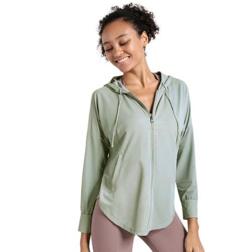 Green Quick Dry Drawstring Hooded Yoga Jacket TQE71334-9