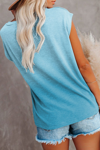Sky Blue Gradient Color Short Sleeve T-Shirt with Pocket LC2527051-4