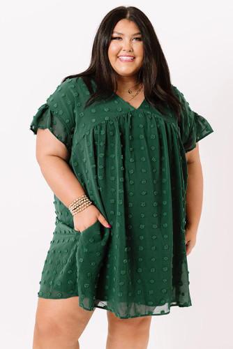 Green Plus Size V Neck Ruffle Swiss Dot Mini Dress with Pocket LC614049-9