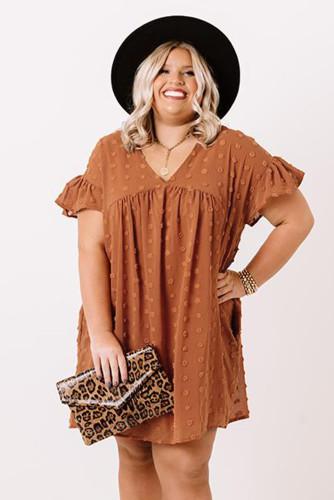 Orange Plus Size V Neck Ruffle Swiss Dot Mini Dress with Pocket LC614049-14