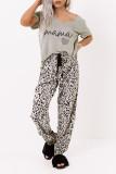 Leopard Print V Neck Elastic Waist Loose Lounge Set LC4511227-11
