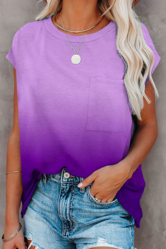 Purple Gradient Color Short Sleeve T-Shirt with Pocket LC2527051-8